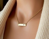Gold Bar Necklace, Brass Nameplate Necklace, Sideways Bar Necklace, Custom Bar Necklace, Monogram Necklace, Name Necklace
