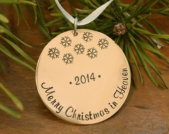 Merry Christmas in Heaven - Brass Christmas Ornament - Hand Stamped