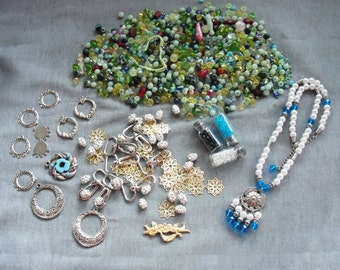 Huge Bead lot, destash lot, vintage and new beads, filigree, earrings, vintage jewelry, silver, blue