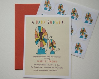 Mod Lion Custom Baby Shower Invitation Set with Stickers