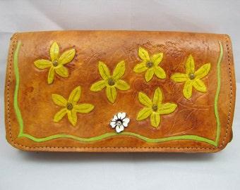 Leather Clutch Purse - Rustic Flower