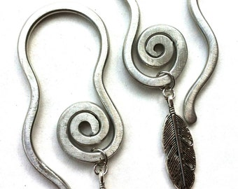 10 Gauge Thread Through Spiral and Feather Earrings