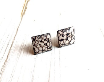 Square Vinyl Record Earrings - Upcycle - Black flowers