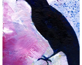 Crow No. 1 ... art archival Raven bird print from original painting by Kathy Morton Stanion EBSQ