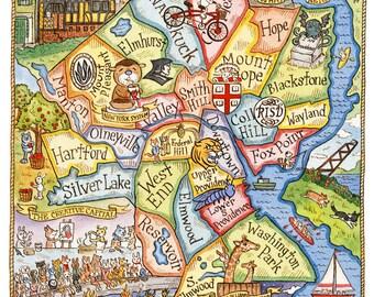 "Providence Rhode Island Art Map 11"" x 14"""
