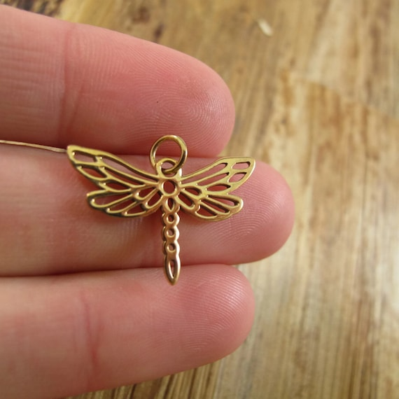 Gol Dragonfly Charm, Natural Bronze Dragonfly Charm for Gold Jewelry, Charm Necklace or Bracelet, Large Charm (Ch 567b)