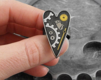 Steampunk Clockwork Heart Ring - My Little Clockwork Heart by COGnitive Creations
