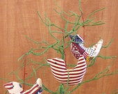Patriotic Americana  Bird Ornament Bowl Fillers Set of Three