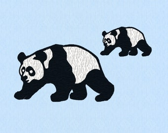 Panda Bear machine embroidery design file in two sizes