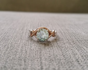 Two Toned Rope Engagement Ring Diamond Mint Moissainte Vintage Antique Blue green 14K Rose Gold and White Gold Midi Set Rings Stacking Twist