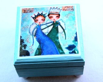 Small Jewelry Box, Boy and Girl Art, King and Queen Storybook Wood Trinket Keepsake Box, Green Blue, Romantic Gift, Love