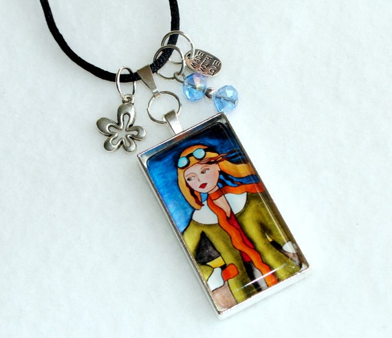 Female Aviator Girl Art Pendant, Silver Charm Necklace, Beaded Art Deco Jewelry, Aviation Art, Black Cord or Silver Chain, Green Blue