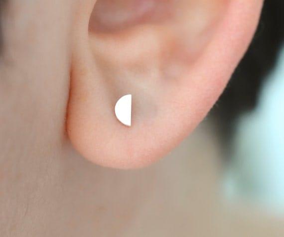Half circle half moon stud earrings in sterling silver - nickel free stud earrings - multiple piercing -  mix and match stud earrings