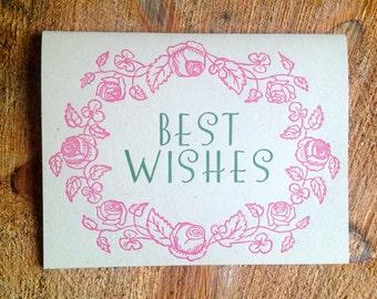 botanical best wishes letterpress card