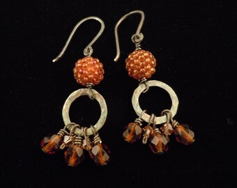 Silver Earrings, Beaded Bead Earrings, Sterling Silver Earrings, Gourd Stitch Earrings, Long Dangle Earrings, Hoop Earrings