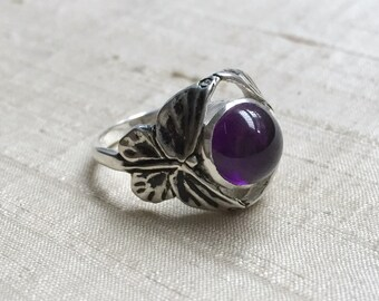 The Butterfly Duo Ring-  Amethyst  in Sterling Silver