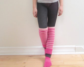 Girls Leg Warmers Upcyceld wool light pink and hot pink stripes cozy warm winter accessory footless socks stylish bubynoa essentials