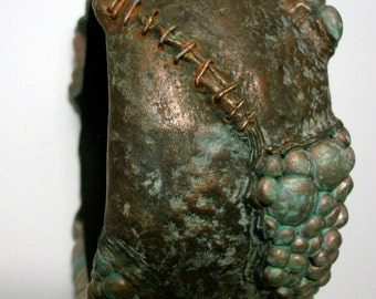 Bronze Boil and Stitched Patina Flesh Horror ZombieHead Bracelet