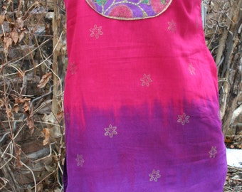 SALE was 30.00 Purple and Pink tie dyed cotton India dress India print medium