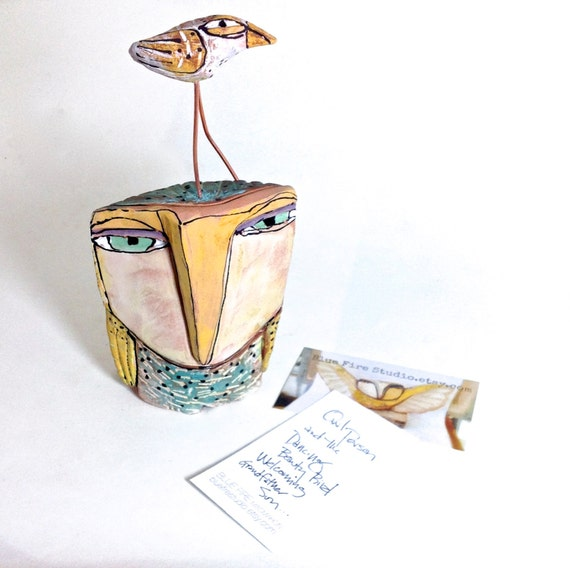 """Owl, handmade one of a kind art, """"Owl and the Dancing Beauty Bird Welcoming Grandfather Sun"""", 7"""" tall"""
