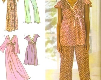 Nightgown pajamas and robe for women sewing pattern Simplicity 4794 Sz XS to M Uncut