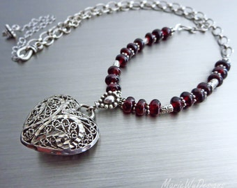 Garnet-Vintage Heart Filigree Pendant-Sterling Silver-Karen Hill Tribe-Bali Oxidized Silver-January Birthstone-Adjustable Necklace