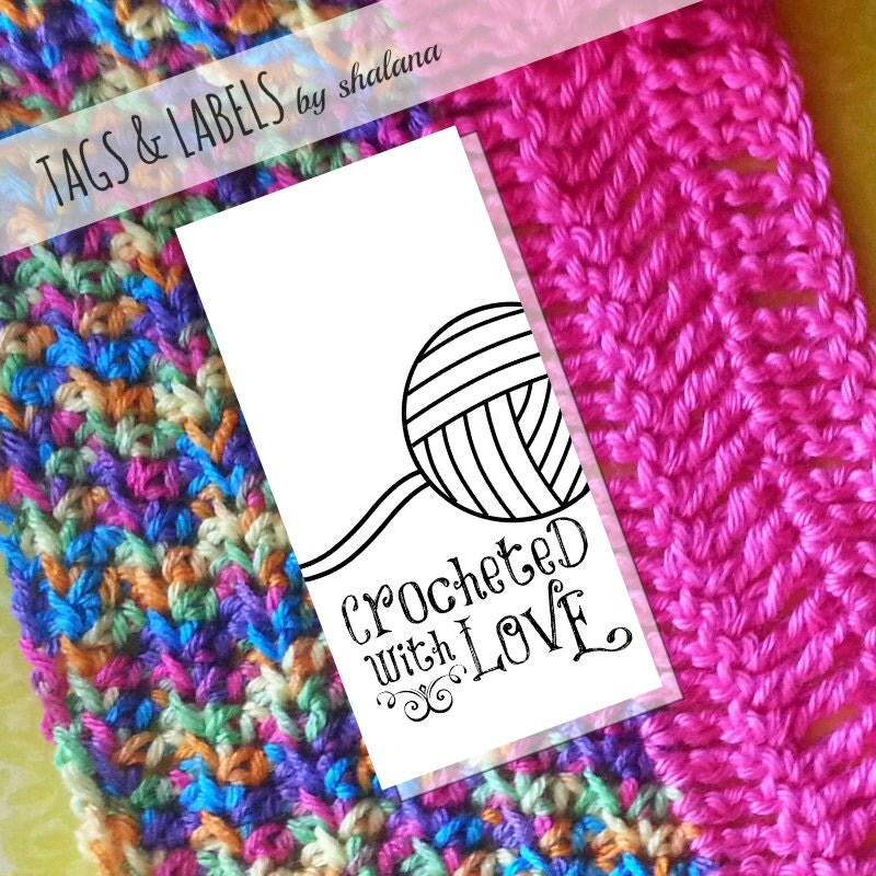 Printable PDF Product Tags Or Sticker Labels Crocheted With