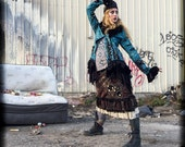 Brown Patchwork Aline Skirt. rustic fashion, ruffle bottom, Steampunk Skirt