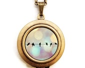 Birds On Wire - Photo Locket Necklace - Dreamy Silhouette Birds On A Wire