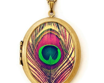 Bohemian - Colorful Peacock Feather Grande Photo Locket Necklace