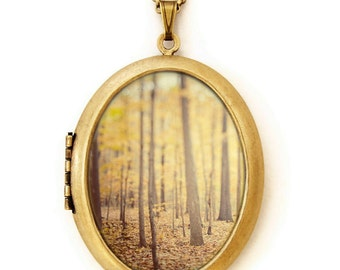 Photo Locket - The Secret Life Of Trees - Autumn Fall Forest Landscape - Wearable Photo Locket Necklace
