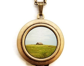 The Old Barn - Photo Locket Necklace - Rustic Landscape Country Barn Locket