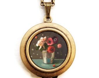 Art Locket - Nightshade -Floral Still Life Oil Painting Reproduction Art Locket Necklace