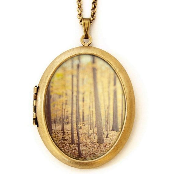 Photo Locket - The Secret Life Of Trees - Autumn Fall Forest Landscape - Wearable Photo Locket Necklace