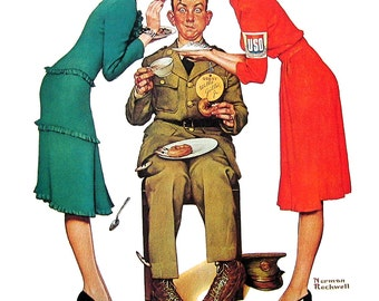 USO Volunteers, Secrets - Large Norman Rockwell Print - 1979 Vintage Book Page - Saturday Evening Post Cover - 14 x 12