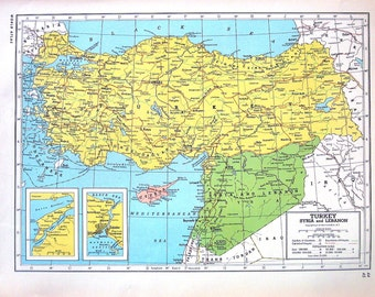 Map of Turkey, Syria and Lebanon, Map of Palestine and Trans-Jordan, Arabia - 1947 Vintage Map - Large 2 Sided Book Page from World Atlas