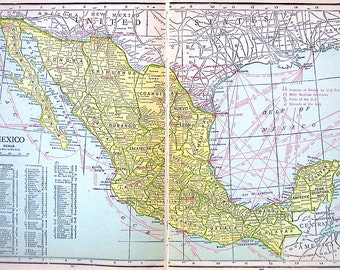 Old Vintage Map, Large 1921 Map of Mexico Print -  World Map Book Page - 14 x 10