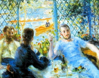 Oarsman - Luncheon by the River - Renoir - 1985 Vintage Book Page - Fine Art Print - Reproduction Print - 11 x 9