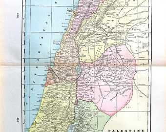 Map of Palestine - Large 1901 Antique Map - from Cram's World Atlas - 22 x 14