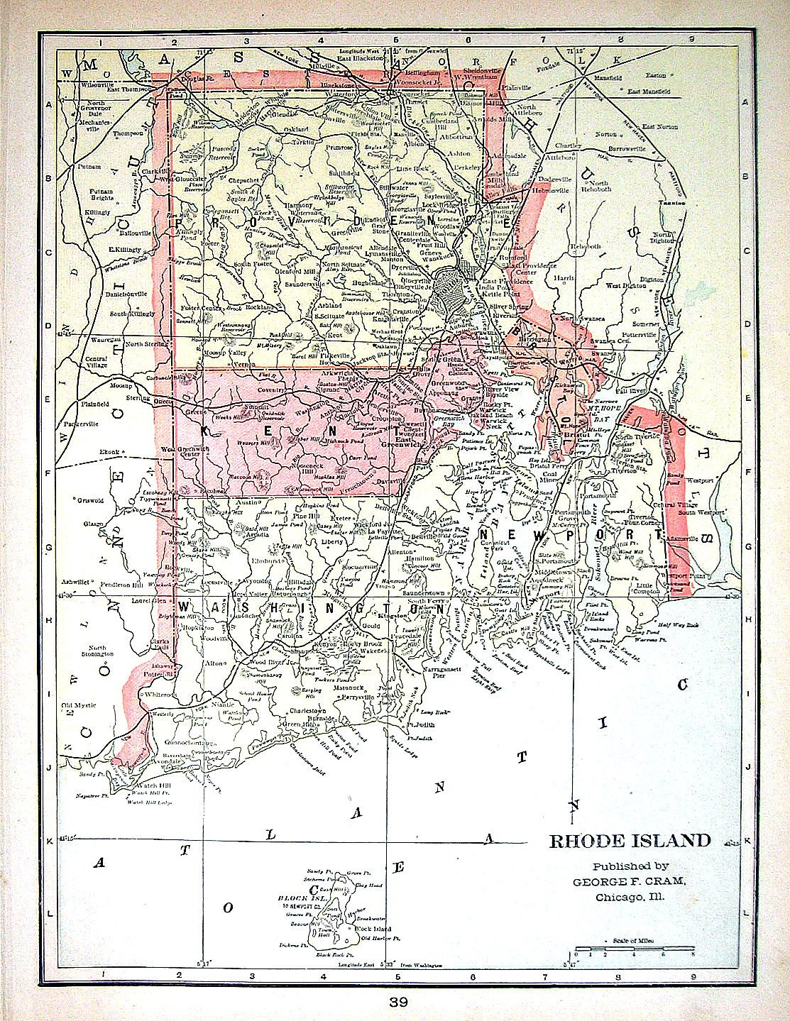 Map Of Rhode Island Map Of Connecticut US State Map 1901