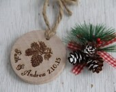 Pinecone Ornament with Personalized Names and Date
