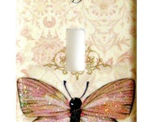 Unique Glitter Butterfly Light Switch Cover Elegant Sparkling Pink and Plum Room Decor Wall Decorations