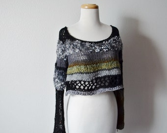 Scruffalupagus Two Sweater - Hand Knit Women's Sweater - Black, Grey, Moss, Willow Green / Chunky Knit One of a Kind Handmade Fall Fashion