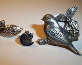 Rare Vintage Bird Pins 1921 Owl and Moon Pin , Duck Tie Tack, Silver Bird Bar Pin