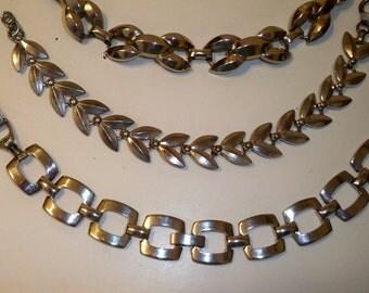 Silver Bracelets, Silver Necklace, 2 Vintage Silver Link Bracelets, Vintage Silver Link Choker Necklace, Vintage  Silver Jewelry for Women
