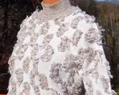 vintage 80's sweater 3-D applique mock turtleneck knit faux fur wtf women's Medium