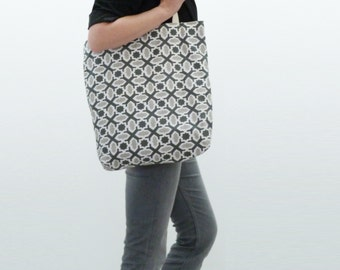 Grey and white cotton geometric fabric tote bag