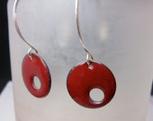 Circle Earrings, Red Earrings, Enamel Earrings, Sterling Silver Earrings, Fire Red Earrings