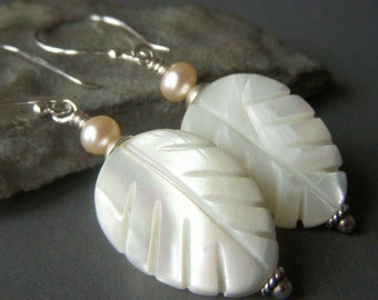 White Leaf Earrings Sterling Silver, White Shell Earrings, Mother of Pearl Earrings, Carved Shell Earrings, Iridescent Leaf Earrings