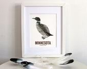 Minnesota State Bird, Nature art, Outdoor art, Vintage Map art, Art print, Wall decor, Rustic Nursery, Map prints - Common Loon